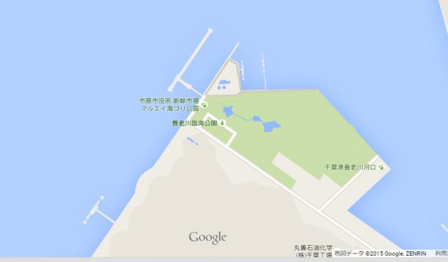 市原公園手前、養老川河口付近画像