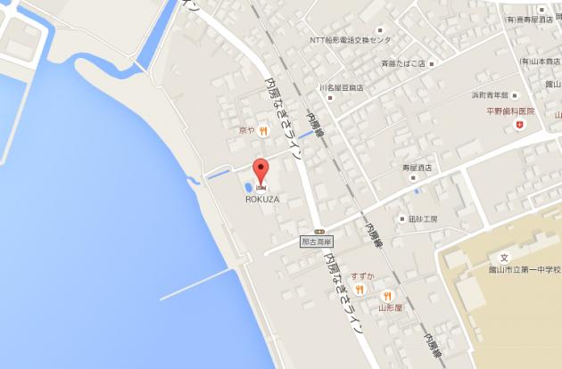 鏡ヶ浦温泉rokuzaロクザ地図