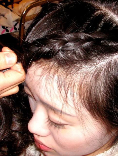編み込みヘア画像