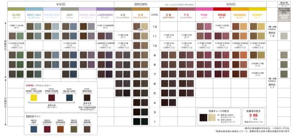 アリミノ アジアンカラーエクスパートカラーチャート画像